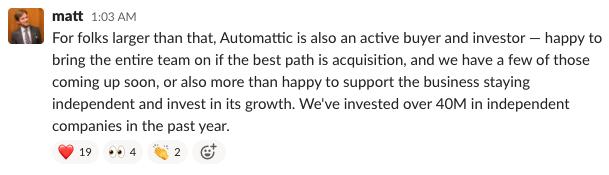 Matt Mullenweg on A8C acquisitions